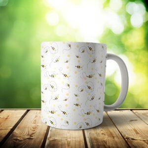 Bees Mug – Custom Pattern Honey Bee Gift – 11 & 15 oz – Bee Lover Coffee Cup