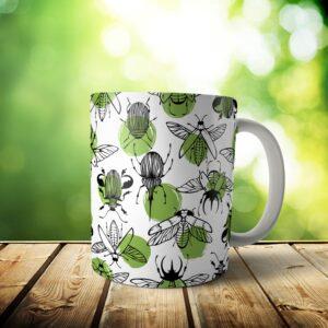 Beetle Mug – Custom Pattern Beetle Gift – 11 & 15 oz – Beetle Lover Coffee Cup