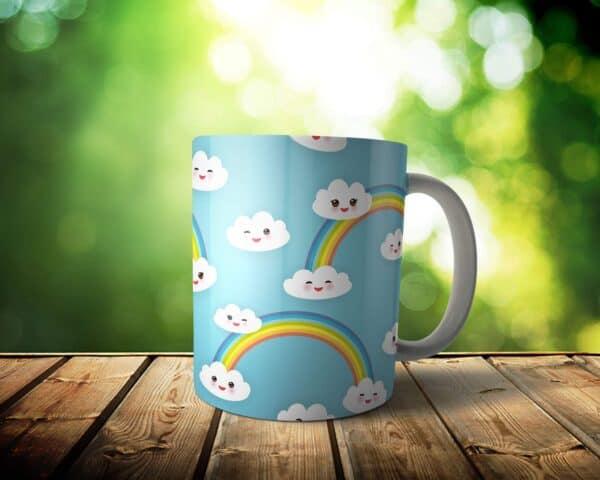 Cloud Rainbow Mug – Custom Sky Gift – 11 & 15 oz – Kawaii cute Lover Coffee Cup