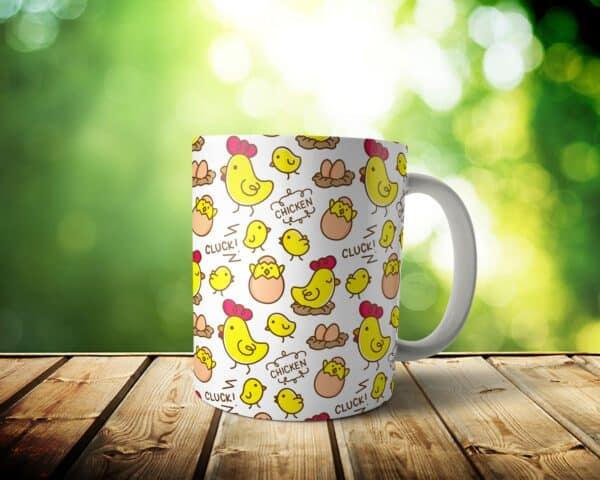 Clucking Chicken Mug – Custom Chicken Gift – 11 & 15 oz – Kawaii cute Lover Coffee Cup