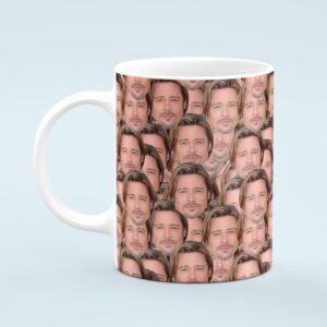 Brad Pitt Mug – Custom Celebrity Gift – 11 & 15 oz – Brad Pitt Lover Coffee Cup
